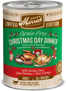 Christmas Dinner In A Tin.Merrick Seasonals Grain Free Christmas Day Dinner Canned Dog Food